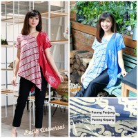 Atasan Batik Blouse Blus Wanita Modern Baju Kerja Sabrina-Duo Wayang2