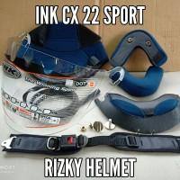 Busa helm ink cx22 sport, kaca Ori ink cx22, baut mur, lis, tali helm