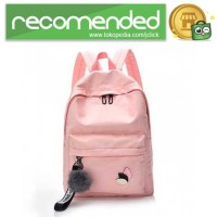 Tas Ransel Wanita Leaf Ribbon Backpack - 170129 - Pink
