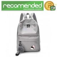 Tas Ransel Wanita Leaf Ribbon Backpack - 170129 - Gray