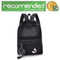 Tas Ransel Wanita Leaf Ribbon Backpack - 170129 - Hitam