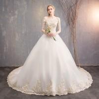 Gaun Pengantin 1903007 Putih Lengan Siku Ekor Wedding Dress Gown