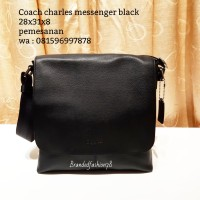 Coach charles messenger black tas asli original bag