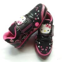 sepatu sekolah hitam anak hello kitty bunga