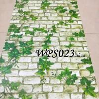 WALLPAPER STICKER 45CMX5M- WPS023- WHITE BRICK N LEAVES