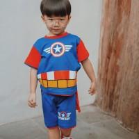 Dessan Baju Setelan Superhero Anak Laki-Laki Capt.America Bersayap