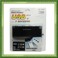 charger mobil Triple Socket 12V/24V Car Cigarette Lighter USB Power