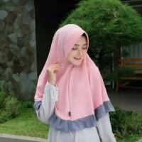 Hijab Instan Khimar / Jilbab Instant /Kerudung Wolfis Rempel Kombinasi
