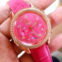 Jam Tangan Wanita Omega Sea Master Diamond Pink Leather