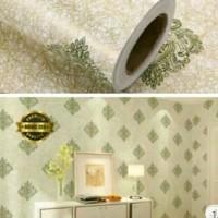 Harga grosir murah wallpaper sticker dinding batik hijau serat emas 10 | antitipu.com