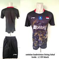 Baju kaos kostum Badminton setelan Lining L139 black