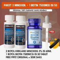 PAKET 2 MINOXIDIL 5% + BIOTIN 7500Mcg isi 50 tblet