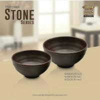 "[HITAM] Mangkok Kaki Tembikar 5"" Stone Melamine / Golden Dragon W3505"