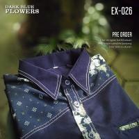BATIK KOMBINASI Biru Donker EX-026, Seragam Batik Modern