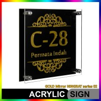 Nomor Rumah Akrilik / Acrylic GOLD Mirror NINGRAT Series 02