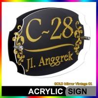 Nomor Rumah Akrilik / Acrylic GOLD Mirror Vintage 01
