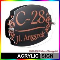 Nomor Rumah Akrilik / Acrylic ROSE GOLD Mirror Vintage 01