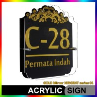 Nomor Rumah Akrilik / Acrylic GOLD Mirror NINGRAT Series 01
