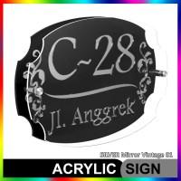 Nomor Rumah Akrilik / Acrylic SILVER Mirror Vintage 01