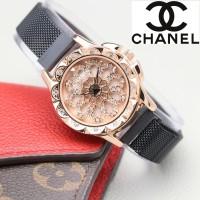 Jam Tangan Wanita Dimini Magnet Rantai Pasir Diameter 3.4cm - Hitam-rose