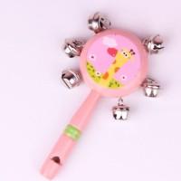 BABY TAMBORINE SHAKER/ Kerincingan Mainan Bayi/ Peluit Kayu - AHM218