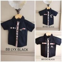 BAJUKIDDIE BURBERRY TOP BLACK . kaos kemeja anak laki branded merk