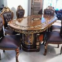 Set kursi makan,meja makan ukir gendong,meja makan jati