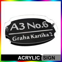 Nomor Rumah Akrilik / Acrylic 3 Layer SILVER/MIRROR Proses Cepat
