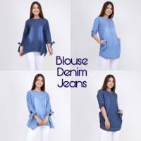 Harga baju cewek blouse denim jeans atasan jeans berlengan wanita | Pembandingharga.com