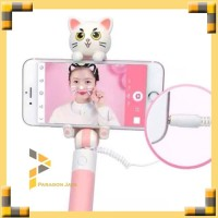 Cat Mini Selfie Sticks Monopod Wired Extendable Tongsis Murah