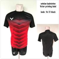 Baju Kaos kostum setelan badminton Victor VX-31 black