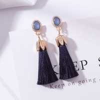 LRC Anting Tusuk Fashion Tassel Decorated Pure Color Earrings