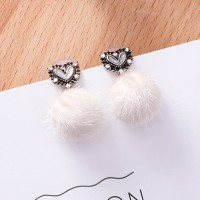 LRC Anting Tusuk Fashion Heart Shape Decorated Earring
