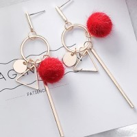 LRC Anting Tusuk Fashion Red Triangle Shape Decorated Pom Ball F07031
