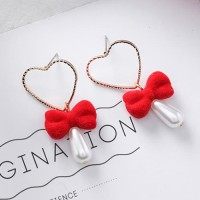 LRC Anting Tusuk Fashion Red Heart&bowknot Shape Decorated F07029