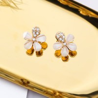 LRC Anting Tusuk Fashion Gold Color Flower Shape Decorated F07006