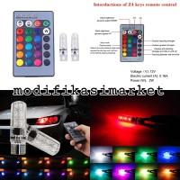 2PC LAMPU SENJA LED RGB T10 5050 SMD 16 WARNA MOTOR DAN MOBIL
