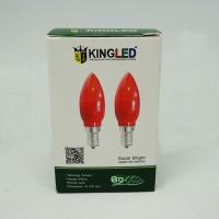 Lampu Bohlam Bola LED Sembahyang E12 Isi 2PCS Merah KINGLED