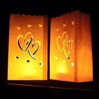 10PCS Double Heart Pattern Tea Light Holder Candle Paper Bag for