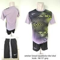 Kostum baju setelan futsal sepakbola Nikee Nk137 grey