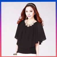 baju hijab muslim atasan wanita blouse korea yeon blus tunik hitam