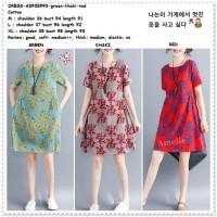 Mini Dress Casual Santai Wanita Korea Import AB935993 Merah Red Green