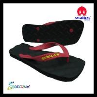 Sandal Swallow Premium Spectrum Pria Black Tali Merah - Hitam, 38