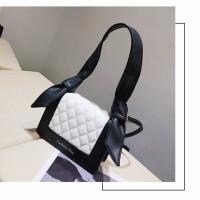 tas import wanita selempang tas shoulder bag murah 20216 hitam korean
