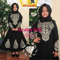 Azalea Bordir Kid/Gamis Twiscone Aplikasi Bordir Asli/Baju India Anak
