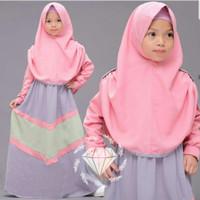 Nikita Syari Kid/Gamis Moscrepe/Gamis Anak Rainbow/Baju Muslim Anak