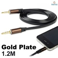 Flat Noodle Style Kabel Aux HP Audio Auxiliary Jack 3.5mm Male to Male