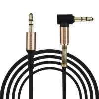 Kabel Aux HP Jack L With Spring Protection 3.5mm Handphone to Speaker