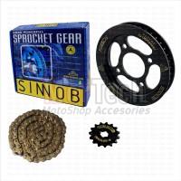 Sinnob Premium Chain Kit Sprocket Gear Set Rantai Tiger Revo HItam