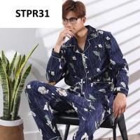 Piyama Pria Baju Tidur Pria Deer Navy Kancing Depan - Premium - STPR11